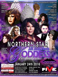 Show Ad | Northern Star All American Goddess, At Large & Gent | Five Nightclub (Madison, Wisconsin) | 1/24/2016