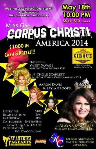 Show Ad | Miss Gay Corpus Christi America | Cirque (Corpus Christi, Texas) | 5/18/2014
