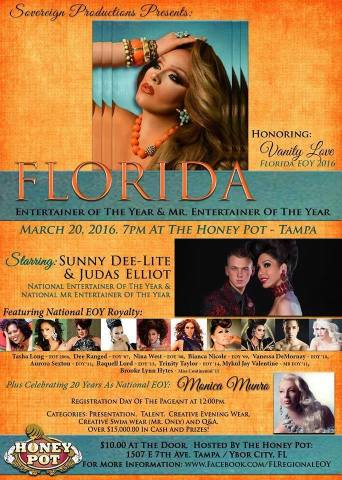 Show Ad   Florida Entertainer of the Year   Honey Pot (Tampa, Florida)   3/20/2016