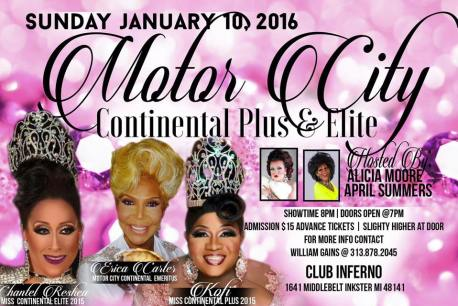 Show Ad | Miss Motor City Continental Plus & Elite | Club Inferno (Inkster, Michigan) | 1/10/2016