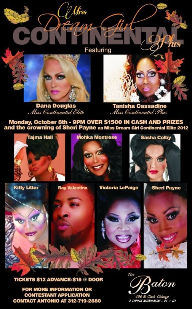 Show Ad | Miss Dream Girl Continental Plus | The Baton Show Lounge (Chicago, Illinois) | 10/8/2012