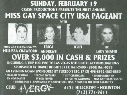 Show Ad | Miss Gay Space City USA | Club Energy (Houston, Texas) | 2/19/1995
