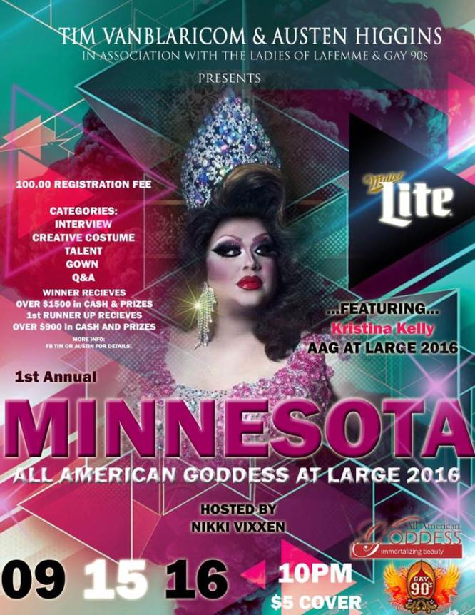 Show Ad | Minnesota All American Goddess at Large | Gay 90's (Minneapolis, Minnesota) | 9/15/2016