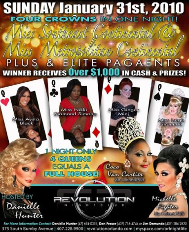 Show Ad | Miss Southeast and Metropolitan Continental Pluse & Elite | Revolution Night Club (Orlando, Florida) | 1/31/2010