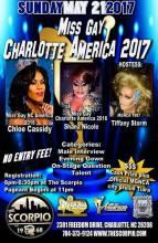 Show Ad | Miss Gay Charlotte America | The Scorpio (Charlotte, North Carolina) | 5/21/2017