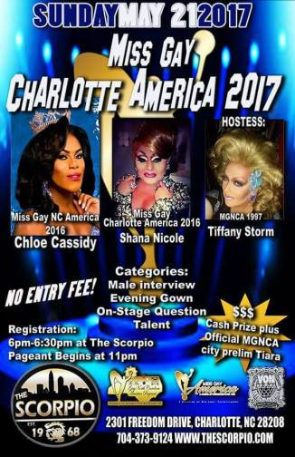 Show Ad | Miss Gay Charlotte America | The Scorpio (Charlotte, North Carolina) | 5/21/2017