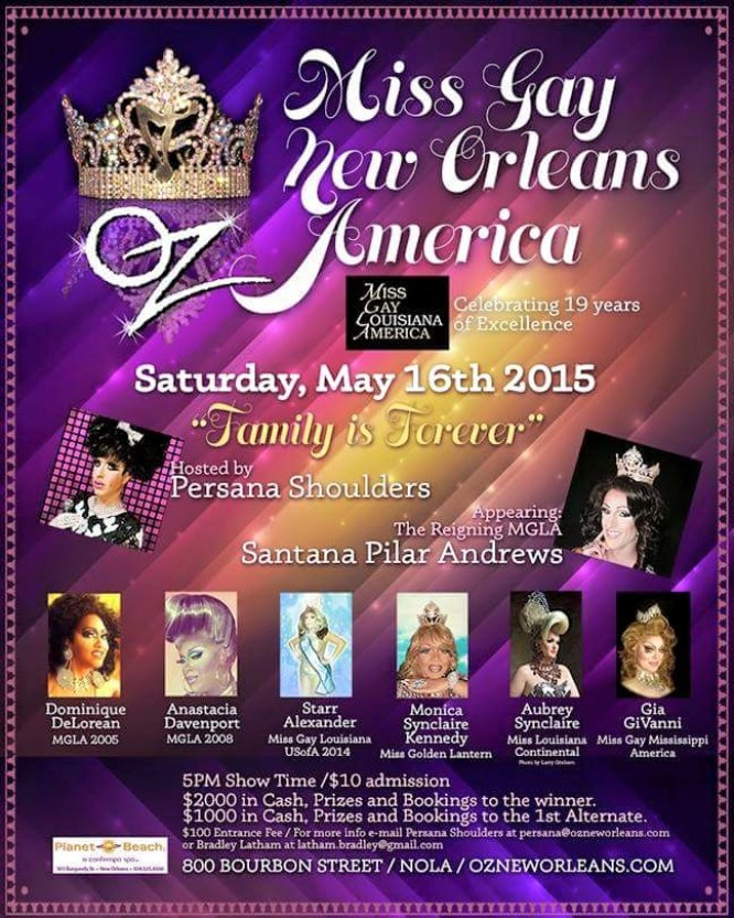 Show Ad | Miss Gay New Orleans America | Oz (New Orleans, Louisiana) | 5/16/2015