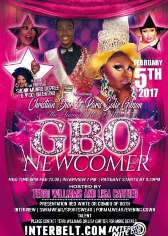 Show Ad | Mr. and Miss Gay Black Ohio Newcomer | Interbelt Nite Club (Akron, Ohio) | 2/5/2017