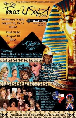 Show Ad | Miss Gay Texas USofA | Rich's (Houston, Texas) | 8/15-8/18/2017
