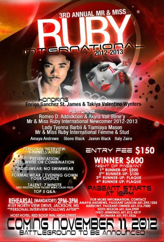 Show Ad | Mr. and Miss Ruby International | Jackson, Mississippi | 11/11/2012