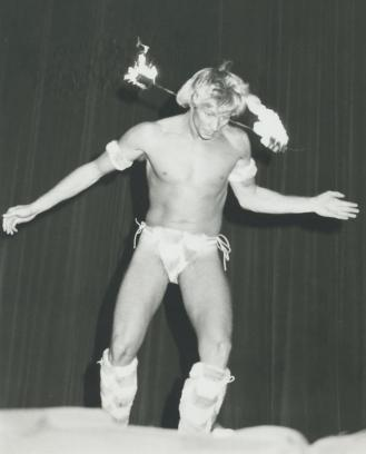 Contestant Keith Mitchell performs in talent competition (and how!) at the Mr. Gay All-American Contest in Oklahoma City. Later that evening, Mitchell was named as Mr. Gay All-American 1985.