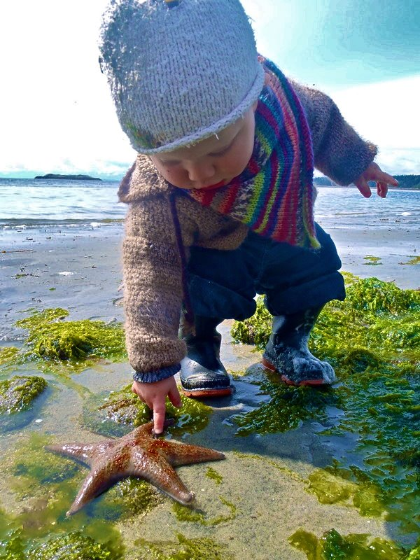 Baby with starfish