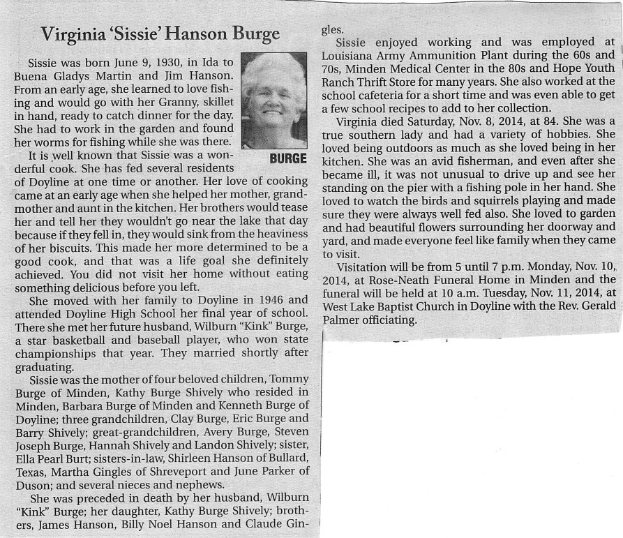 Sissy's Obit from Minden Press Herald 11-10-2014
