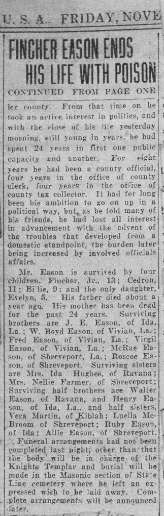 Fincher Eason Tax Collector Ends His Life 11-20-1924 continued