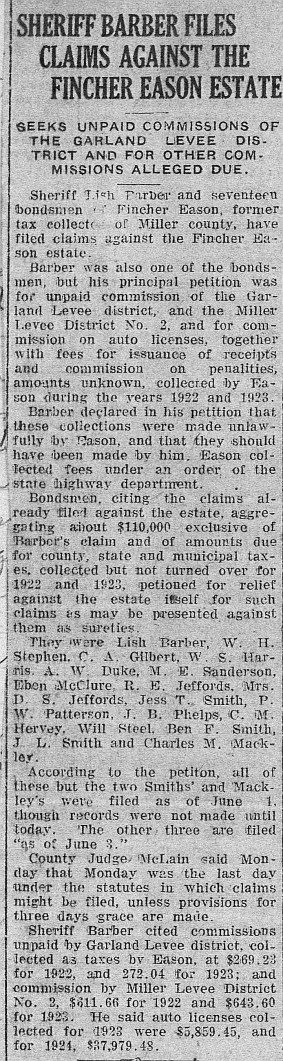 Sheriff files Claims Agains Eason Estate 6-13-1925