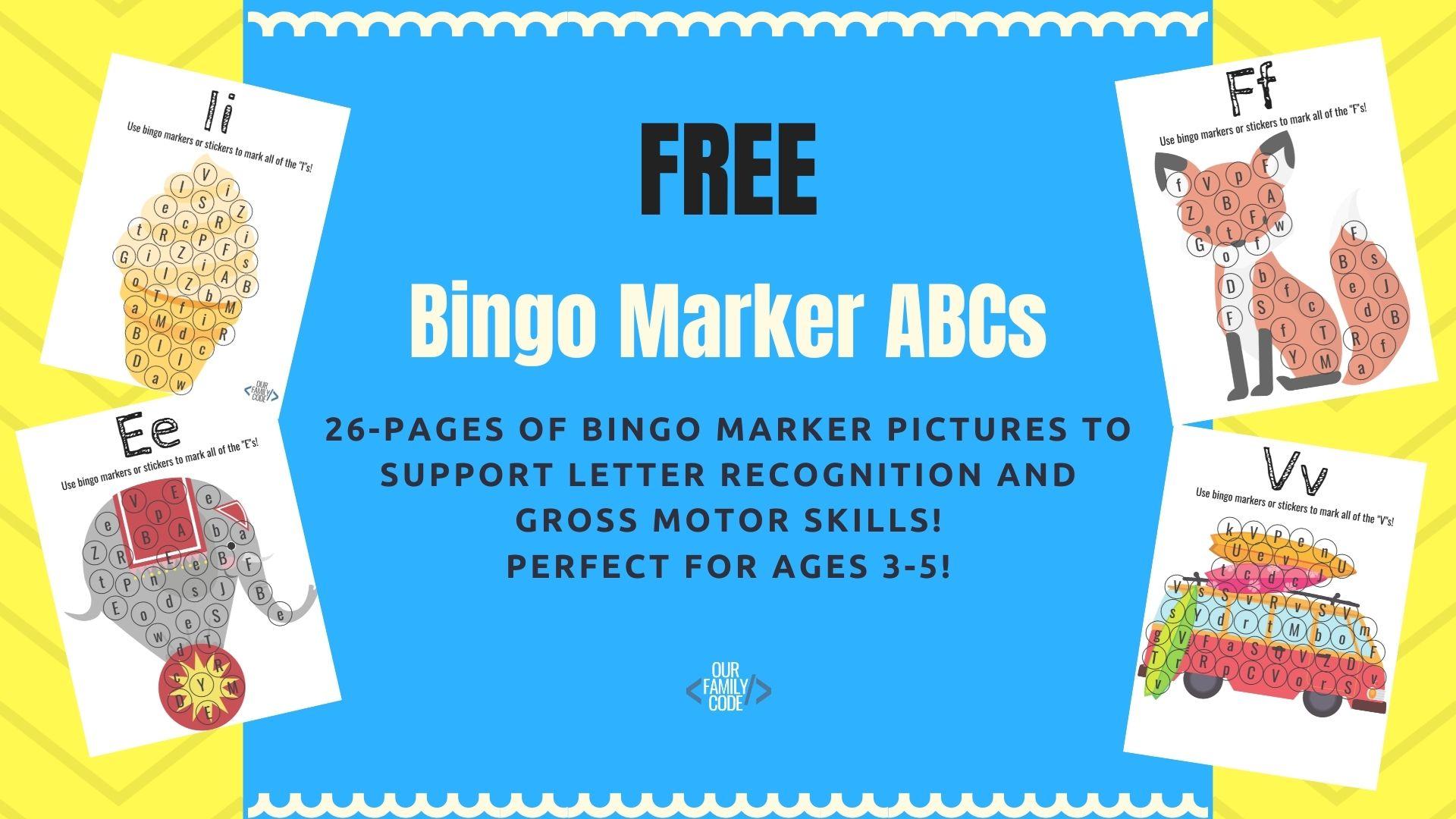 Free Bingo Marker Letter Recognition Workbook for Preschoolers