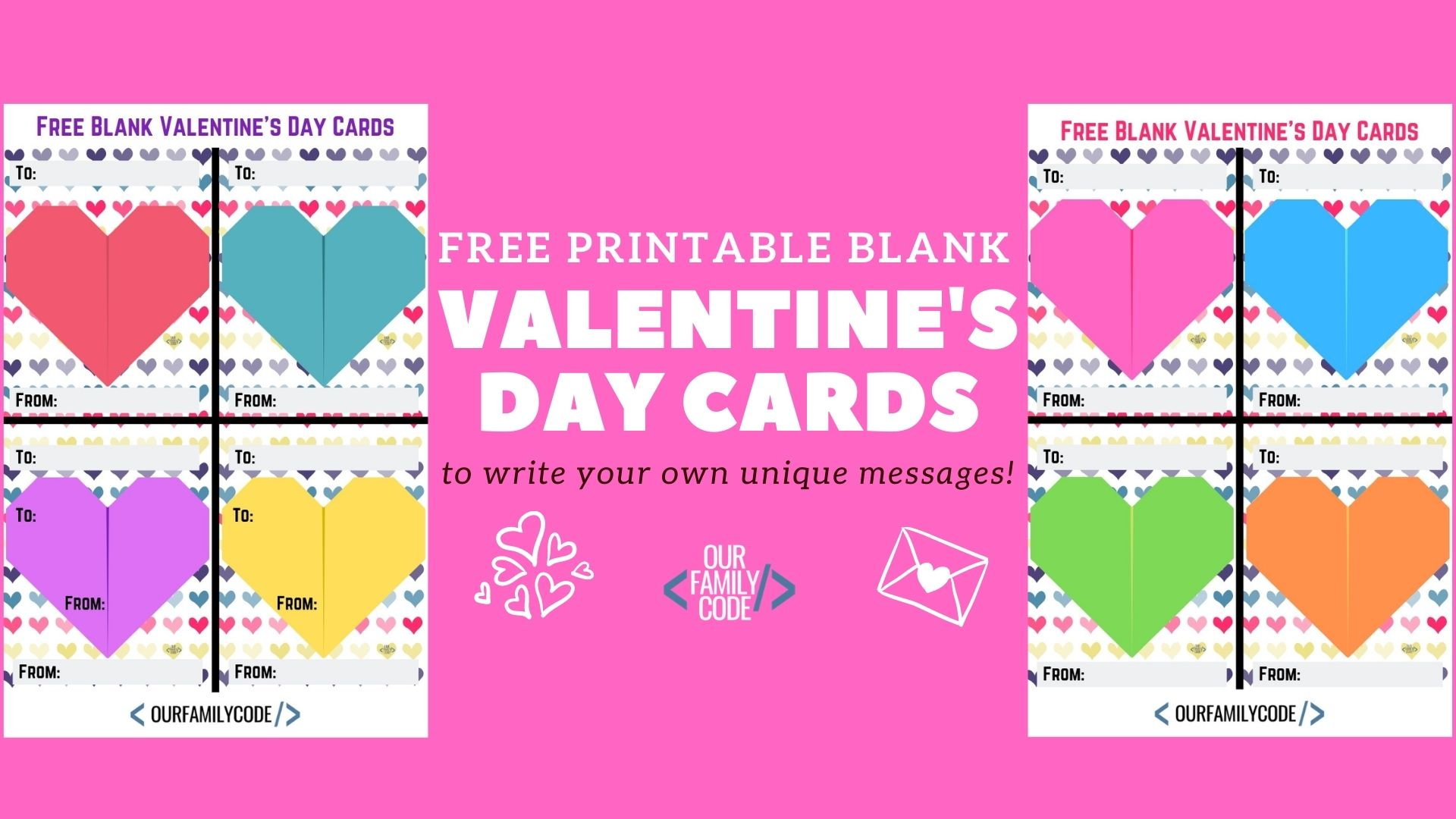 Free Printable Blank Valentine\u0027s Day Cards Our Family Code