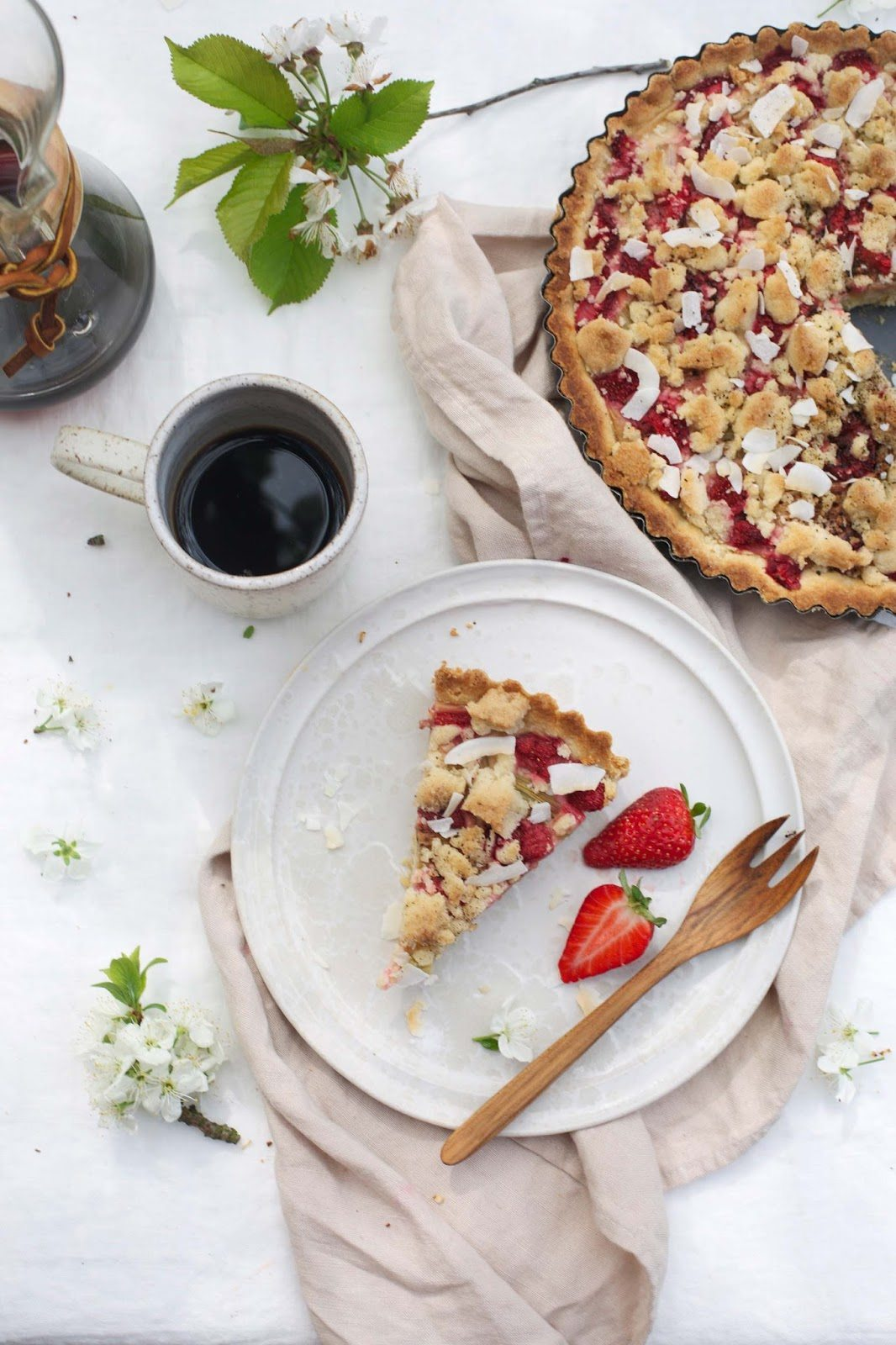 Gluten Free Rhubarb Strawberry Tart With Almond Pudding And Licorice Powder Our Food Stories