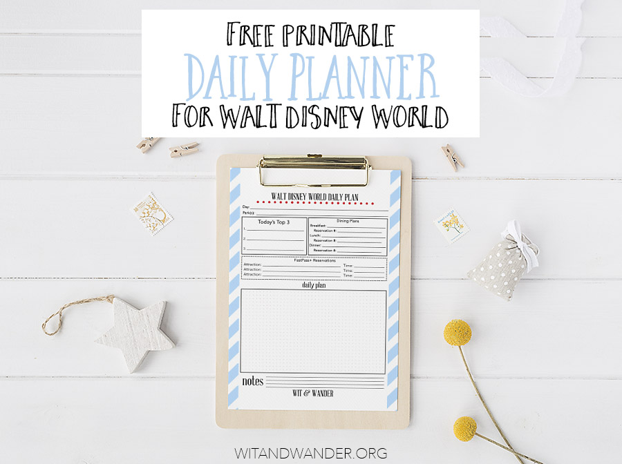 Free Printable Walt Disney World Daily Planner - Our Handcrafted Life