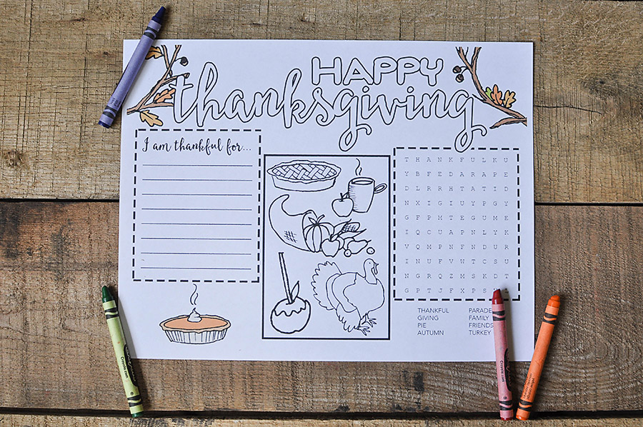Free Printable Thanksgiving Placemat - Our Handcrafted Life