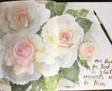 My loose painting of roses on my Monologue visual journal. I hope you like it :) .