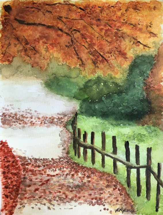 My watercolor painting of Fall Foliage (reference photo from Instagram). I hope you like it.