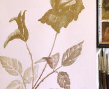 I used metallic gold and other metallic paints in painting this rose.
