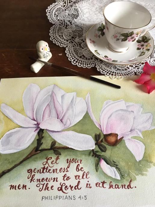 "A painting from last year. ""Let your gentleness be known to all men. The Lord is at hand."" That Queen Anne teacup duo is a gift from an IG teacup seller. The Lord loves and blesses us in many wonderful, delightful ways."