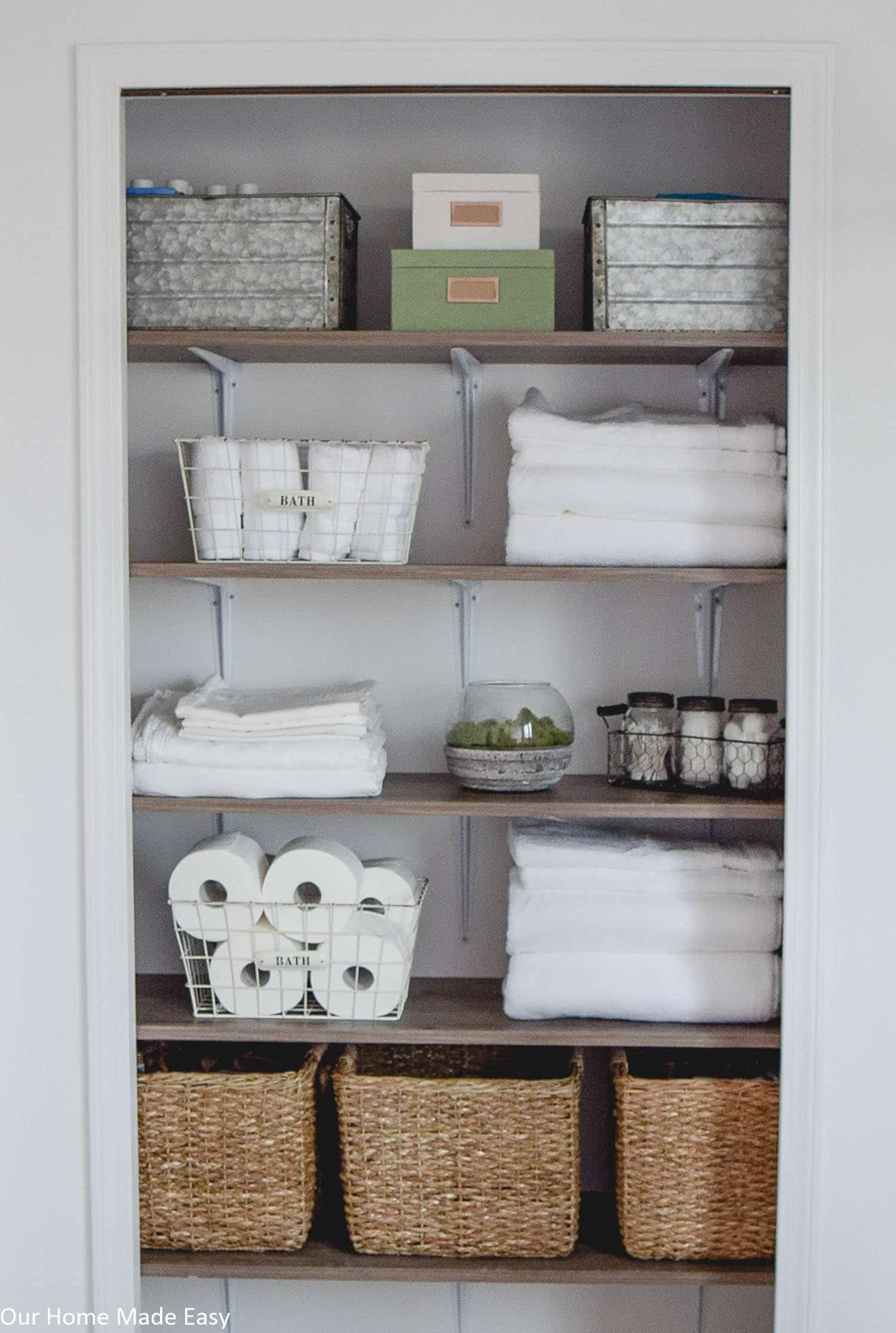 Linen Closet Organizer Systems Bathroom Linen Closet Reveal Our Home Made Easy