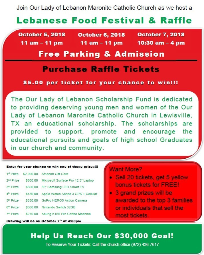 Help Us Reach Our Raffle Ticket Goal! - Our Lady of Lebanon Maronite
