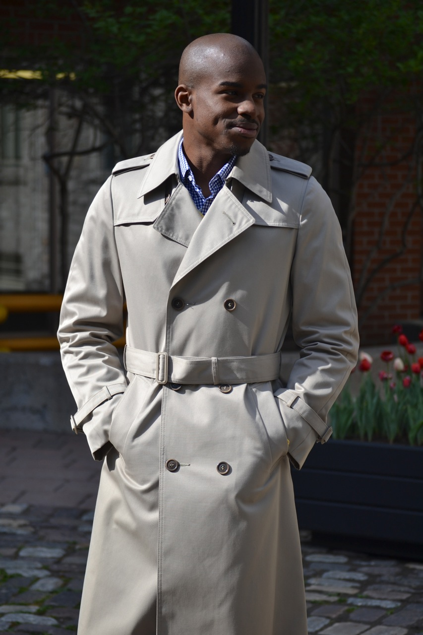 ottawa fashion, handsome black man, mens beige trench coat, street style, black male model