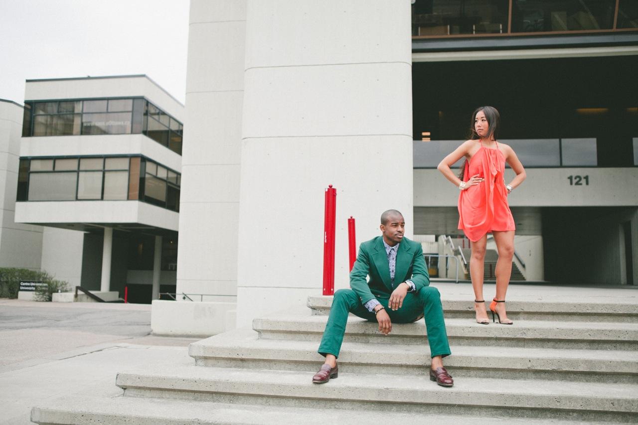 ottawa fashion, stylish couple, fashion couple, black and asian couple, monochrome outfits, all green suit, zara heels, orange dress, university of ottawa