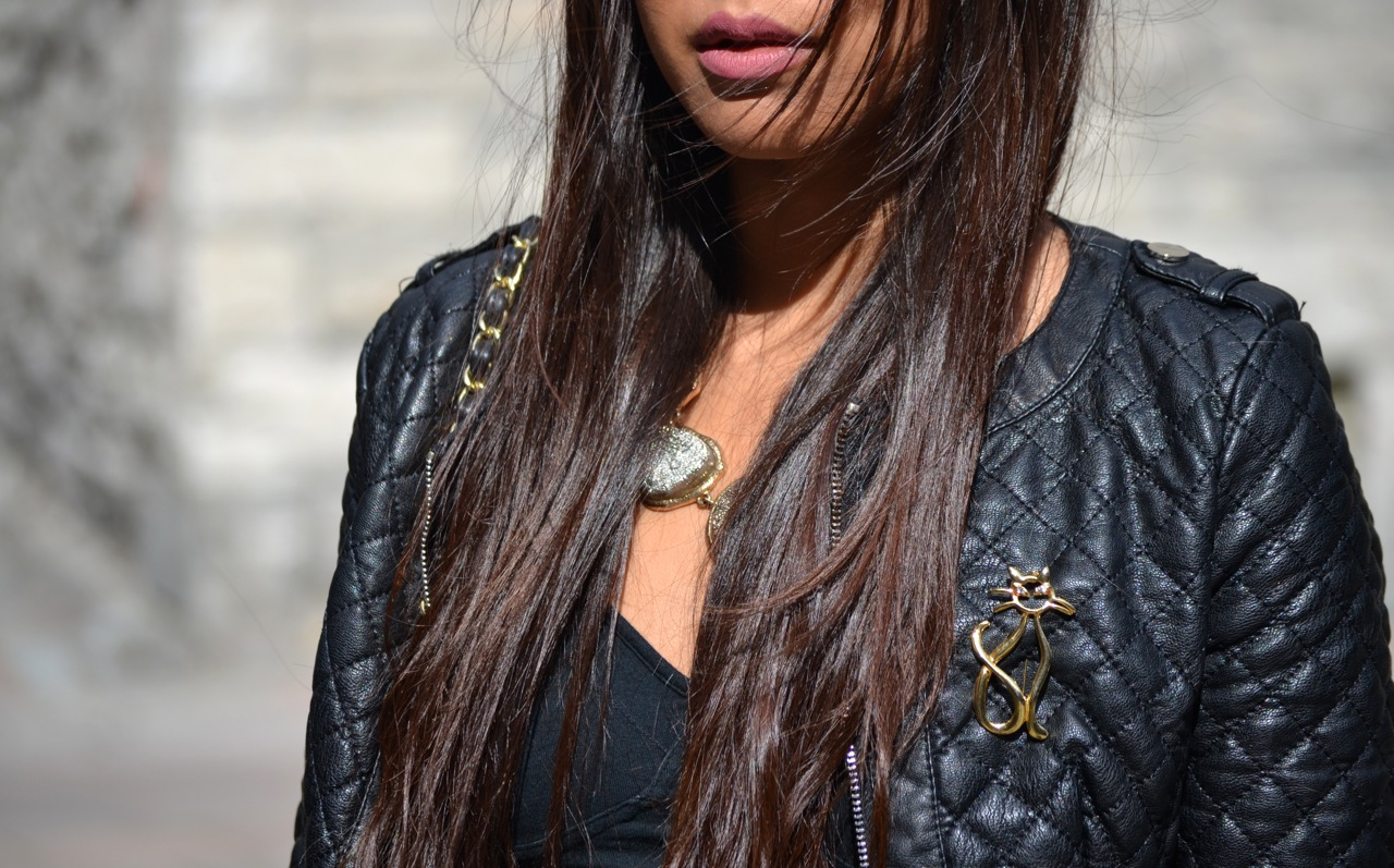 pretty asian girl, statement jewelry, le chateau jacket, matte pink lipstick