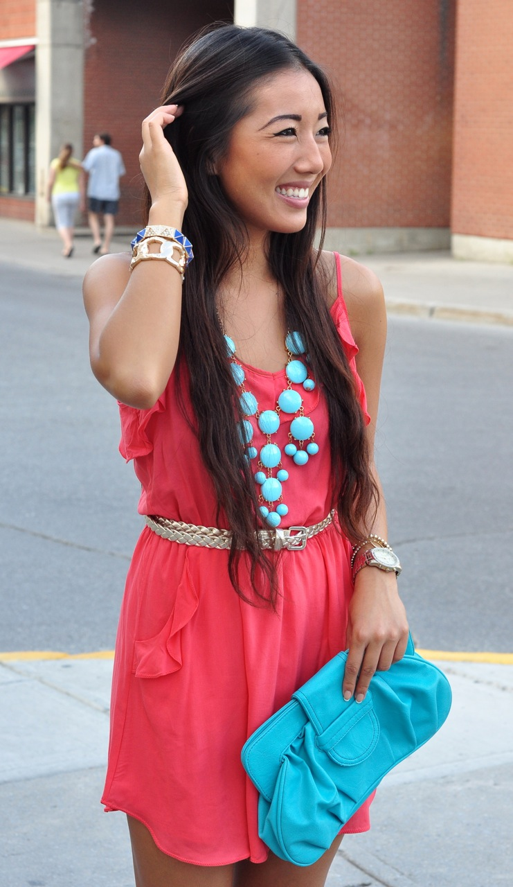 coral dress, blue accessories, coral and blue color blocking, aritzia dress, asian girl smiling, pretty asian girl, nice smile, ottawa fashion