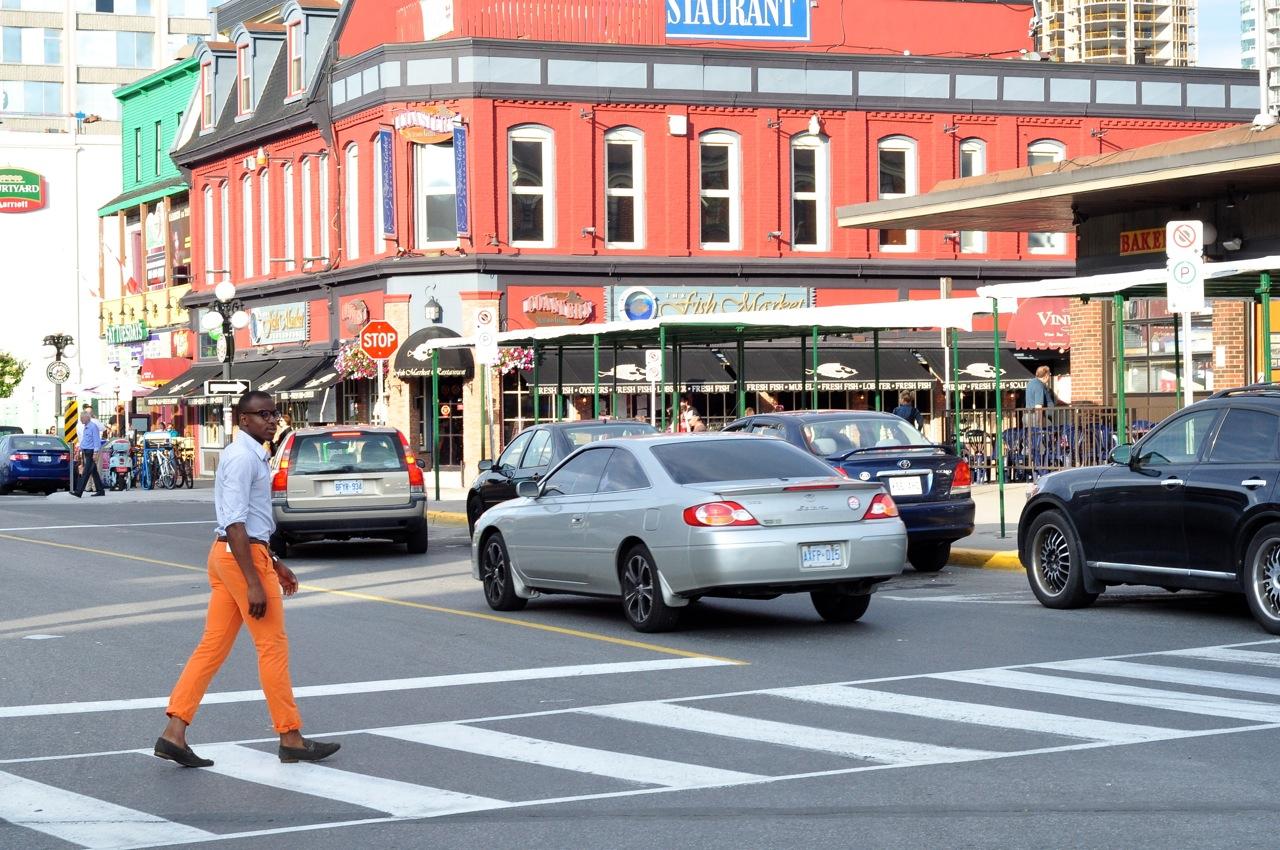 Mens street style orange pants, mens orange pants