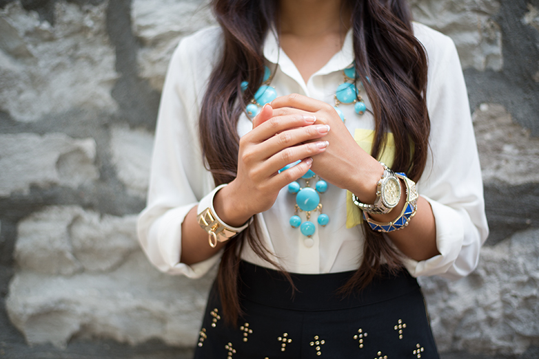 womens chiffon shirt, blue bubble necklace, blue and yellow colour blocking, blue accessories, blue jewellery