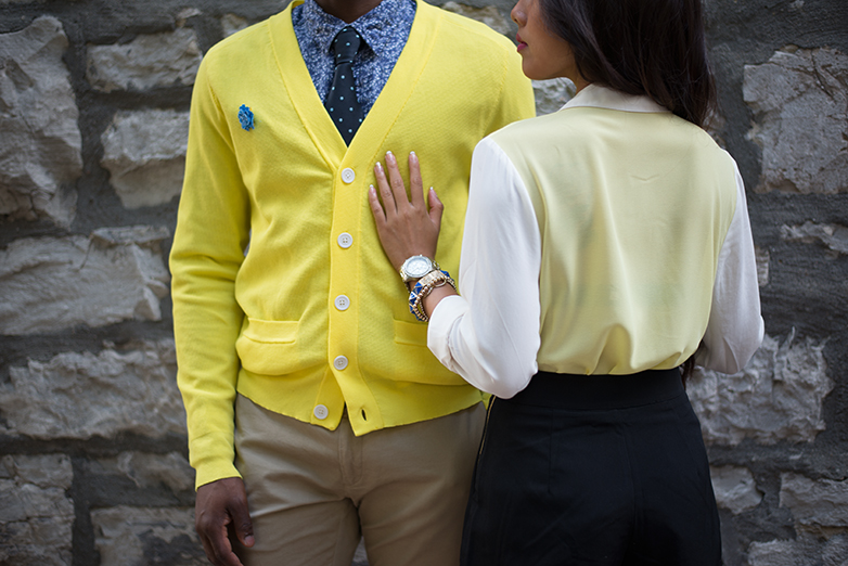 yellow and blue color blocking, couples matching outfits, yellow cardigan, black high waisted short, mens floral shirt
