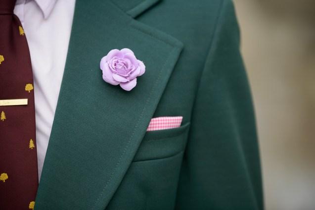 Green blazer maroon tie