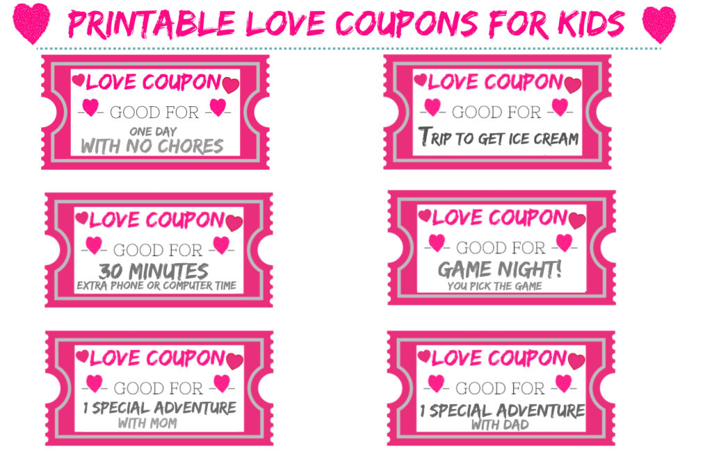 FREE Printable Love Coupons For Kids For Valentine\u0027s Day