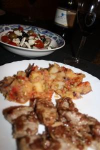 Pork Tenderloin, Potato Stew, Greek Salad & a Mourvedre