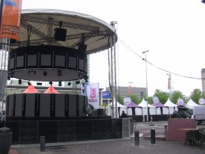 Preparing for Queen's Day in Eindhoven, the Netherlands
