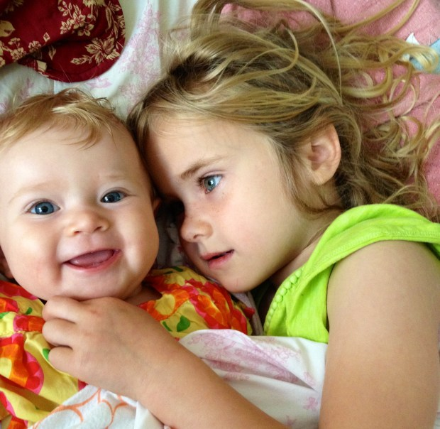 She is the best big sister and can make Phoebe laugh more than anyone. The only complaint is Phoebe will pull her hair constantly!