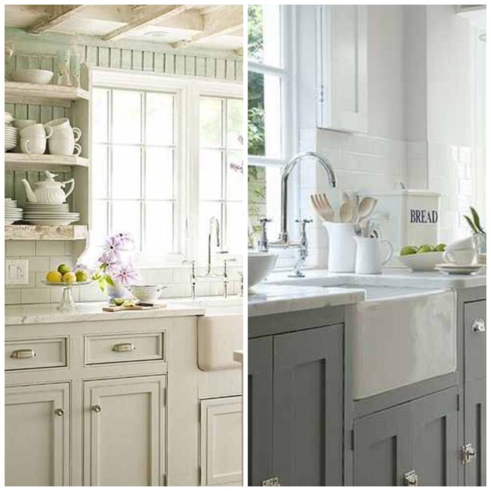 Gray or white cabinets? (White image is from Zillow Digs and Gray is from Flikr - The Estate of Things.)