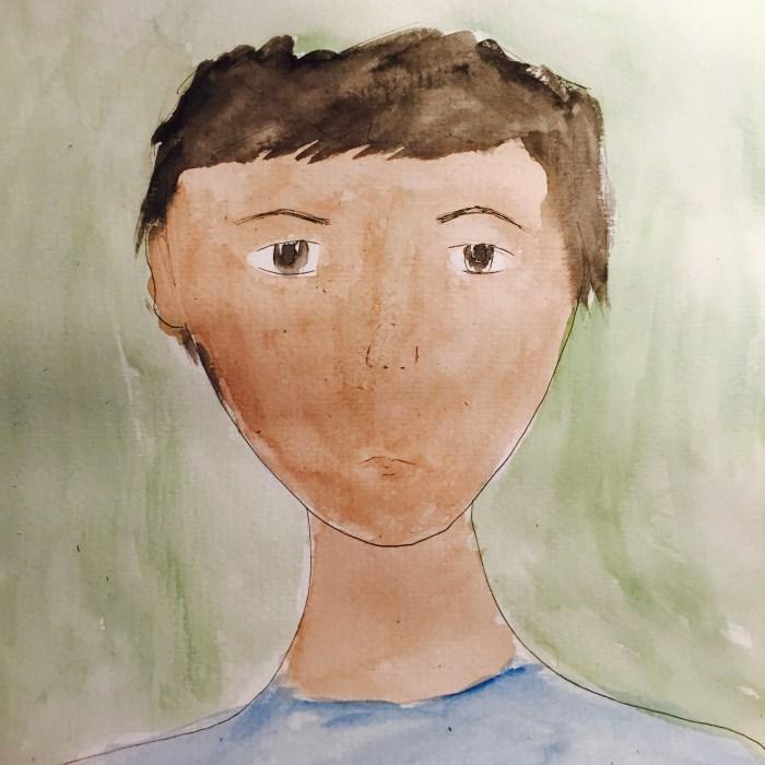 watercolor brown boy