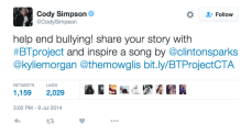 Cody Simpson tweets about #BTProject