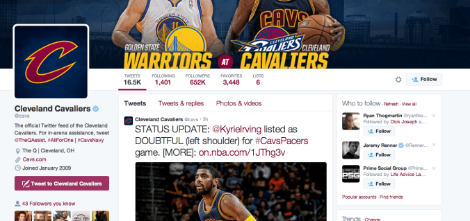 Cleveland Cavaliers' Twitter page