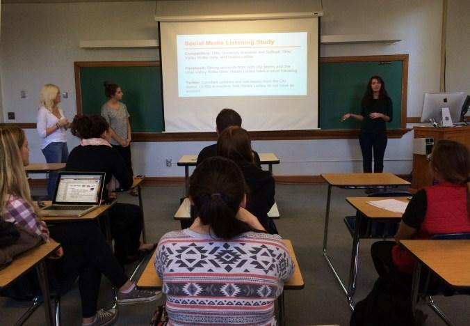 Lauren R., Anna V. & Amanda R. present their final pitch for the Appalachian Hell Betties