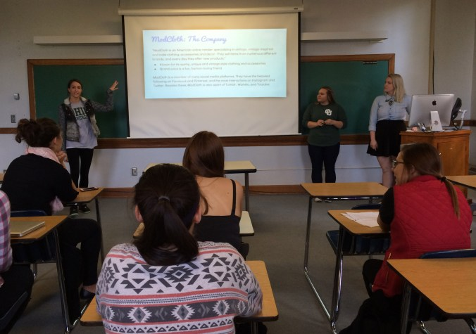 Gina R., Caroline W. & Olivia U. present their final pitch for ModCloth