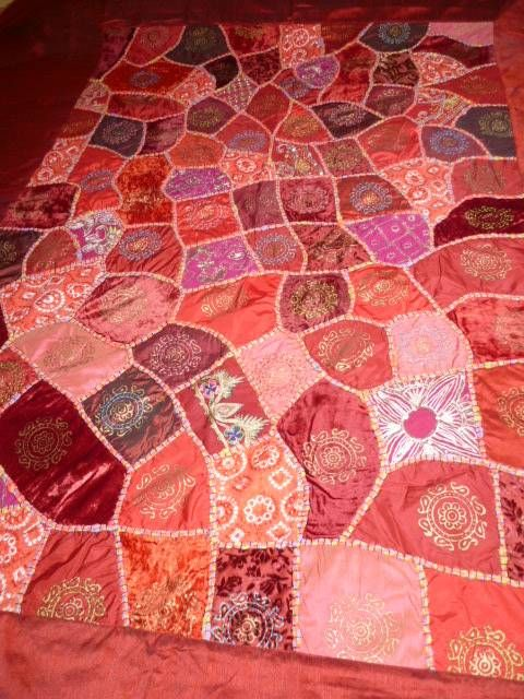 Tagesdecke Weinrot Tagesdecke 'patchwork - Rajasthan' Weinrot - Out Of India