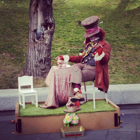 Street performer in Madrid dressed as the Mad Hatter